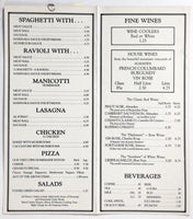 1980's Vintage Menu & Wine List GENARO'S ITALIAN RESTAURANT Morro Bay California