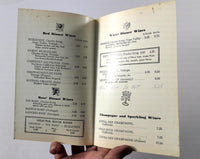 1970's Vintage WINE LIST Menu KEITH'S MAVERICK ROOM Restaurant Studio City CA