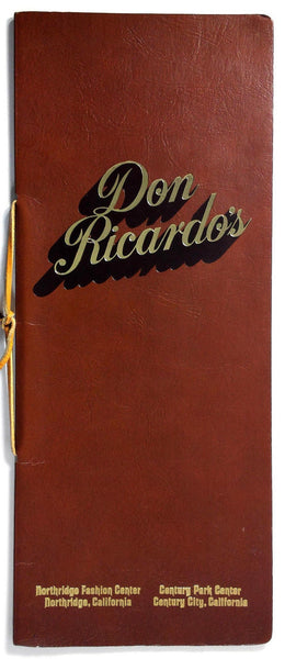 1976 Vtg Lunch Menu DON RICARDO'S Mexican Restaurant Century City Northridge CA
