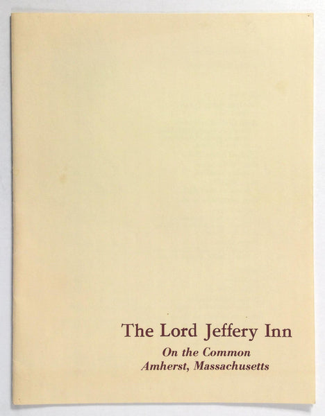 1970's Vintage Lunch Menu THE LORD JEFFERY INN On The Common Amherst MA
