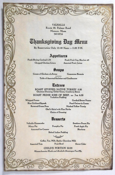 1971 Vintage THANKSGIVING DAY Menu VALHALLA Restaurant Monson Massachusetts