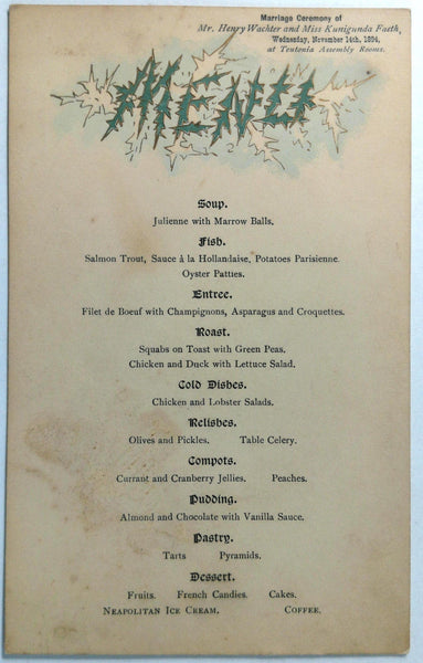 1894 Vintage Menu TEUTONIA ASSEMBLY ROOMS Restaurant New York Wachter & Faeth