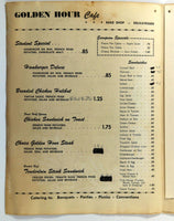1962 Original Vintage Menu GOLDEN HOUR CAFE Restaurant Grand Forks North Dakota