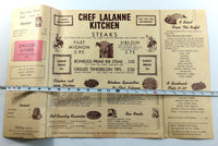 1960's Vintage HUGE DINNER Menu CHEF LALANNE'S KITCHEN North Platte Nebraska