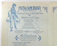 1978 Vintage Menu THE FLYING DUTCHMAN Lake Buena Vista Florida Ice Skaters