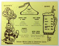 1975 Child Kids Menu Hershey Motor Lodge & Convention Center Chocolate Town PA
