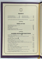1970's Original Vintage Menu NEW WORLD INNS - MADEIRA ROOM Restaurant