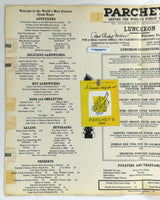 1960's Original Vintage Lunch Menu PARCHEY'S Steak Restaurant Washington DC