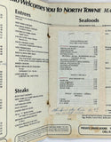 1976 Vintage Menu RUSS PIRRELLO NORTH TOWNE MANOR Restaurant Rockford Illinois