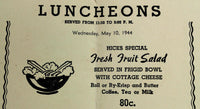 Rare 1944 Lunch Menu H. HICKS & SON Fruit Shop Fifth Ave. New York