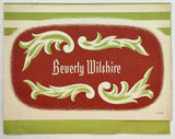 1948 Full Size Dinner Menu Beverly Wilshire Hotel Nubian Room Beverly Hills Ca.