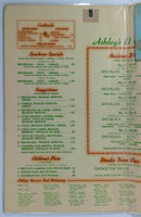 1950's Vintage Menu ASHLEY'S EL ENCANTO Mexican Restaurant Long Beach CA