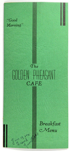 1941 BREAKFAST Menu THE GOLDEN PHEASANT CAFE Restaurant Grand Junction CO