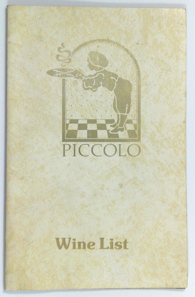 Vintage WINE LIST Menu PICCOLO Restaurant Carlo Rossi Laurence Winery Cella