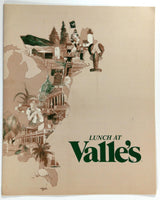 1982 Original Lunch Menu VALLE'S Restaurant Philadelphia Pennsylvania