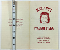1977 Original Menu Lot MARIANN'S ITALIAN VILLA Restaurant Montalvo California