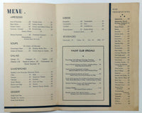 1940's Original Menu THE YACHT CLUB Edgewater Beach Hotel Chicago Illinois
