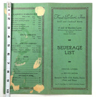 1940's Original DRINKS Menu FRED SOLARI INC Grill & Cocktail Room San Francisco