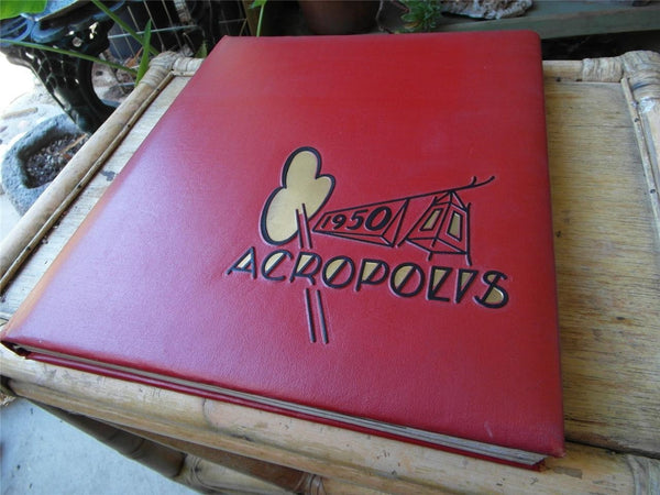 1950 Original Yearbook Whittier College California Cool 50's Cover Acropolis