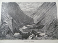 Antique 1860  VALLEY OF HEIMDAL Large Engraving Print Mountains River