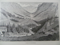 Antique 1860 Valley Of Vestfiordla Norway Large Wood Engraving Mountains Houses