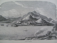Antique 1860 PORT OF FRANCE Wood Engraving Large Print