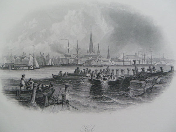 Antique 1860 KIEL City Port DENMARK GERMANY Fine Steel Engraving Print Ships