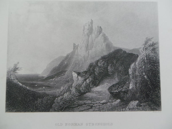 Antique 1860 OLD NORMAN STRONGHOLD Fine Steel Engraving Print