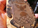 BIZZA Family Name Crest ITALY Italian Woodblock Engraved Vintage Relief Block
