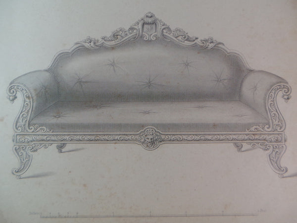 Rare 1853 Victorian SOFAS Couch Woodwork CABINET Maker's Large Engraving