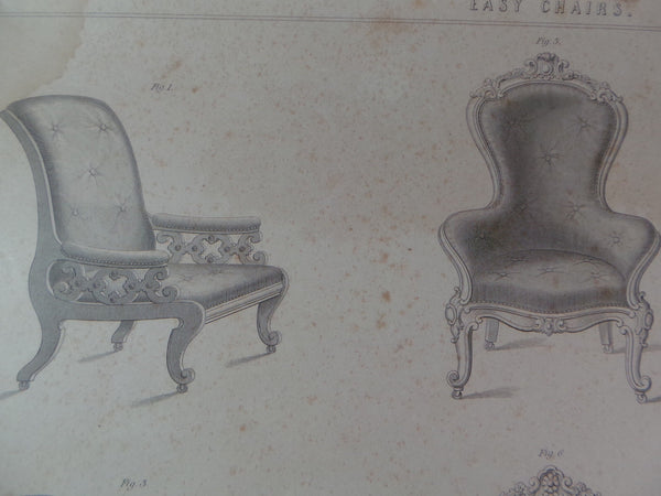Rare 1853 Victorian EASY CHAIRS Woodwork CABINET Maker's Large Engraving