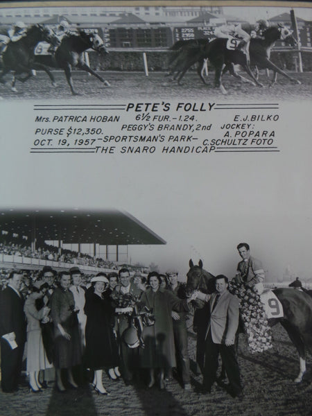 Vintage 1957 PETE'S FOLLY Winner's Circle Horse Racing SPORTSMAN'S PARK Photo