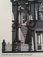 1990 VICTORIAN With SCALLOP SHINGLES San Francisco Hand Drawn Colored Black Cat