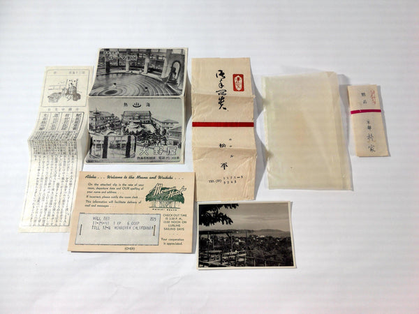 Vintage JAPAN TRAVEL BUREAU Tourist Packet & Moana Hotel Waikiki Welcome Card