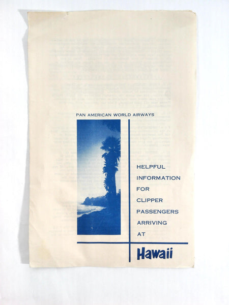 Vintage 1953 PAN AM AMERICAN WORLD AIRLINES Hawaii Clipper Passengers Info
