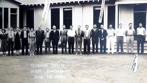 1940 Vintage SHELL OIL COMPANY ? Coastal Division Employees PANORAMA Photograph
