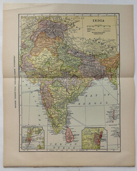 c1904 1912 Color Fold Out Map Of India 10.5 x 13 in.