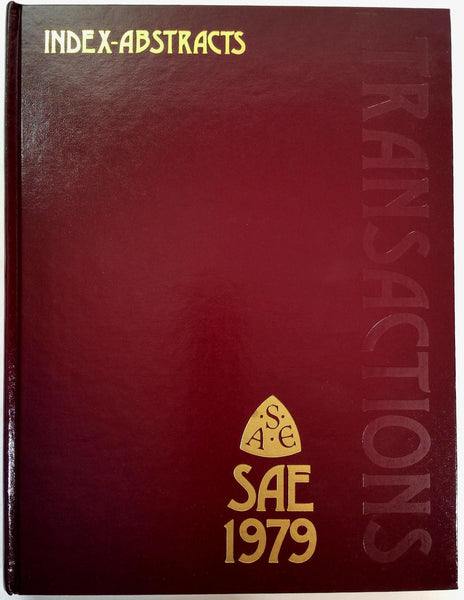 1979 SAE Society Automotive Engineers Transactions Index Abstracts Volume 88