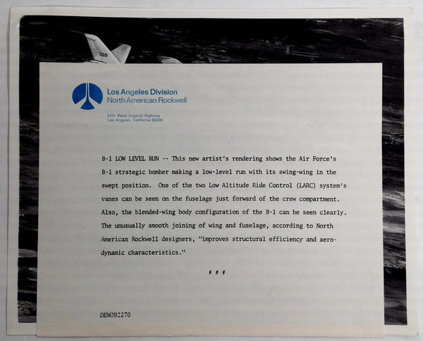 Vintage USAF Rockwell B-1 Bomber Press Release Photograph B-1 Low Level Run