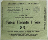 Vintage 1937 Ticket THEATRE NATIONAL DE L'OPERA Armchair Orchestra Opera Seating