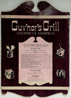 Unusual Vintage Original Menu GUV'NOR'S GRILL Washington DC
