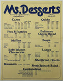 Original Vintage Menu MS. DESSERTS Harborplace Baltimore Md. CHEESE BREAD