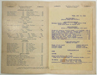 1945 Vintage Menu GAMELIN'S Restaurant Charleston S.C. WWII War Time Rationing