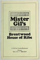 1979 Original Vintage Take Home Menu MISTER GIL'S Brentwood House Of Ribs CA