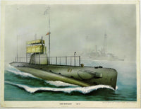 Old Vintage Colorful Art Print USS SKIPJACK E-1 SS-24 E Class Submarine