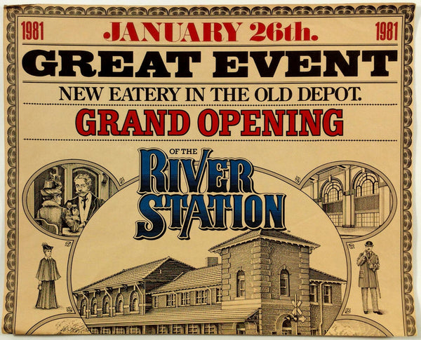 1981 Vintage Huge Full Size Dinner Menu RIVER STATION Peoria IL Grand Opening