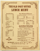 Vintage Lunch Menu THE OLD POST OFFICE Restaurant Ephraim Wisconsin ?