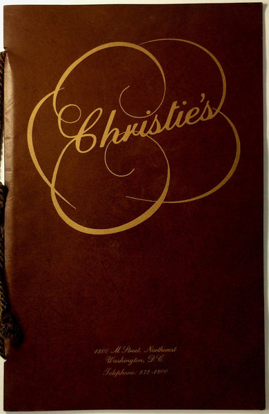 1977 Original Full Size VINYL Vintage Menu CHRISTIE'S RESTAURANT Washington DC