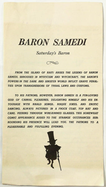 1970's Vintage Mystery Menu BARON SAMEDI Restaurant Location Unknown Florida ?