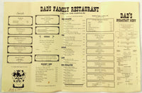 1983 Vintage Full Size Menu DAD'S FAMILY RESTAURANT Lincoln New Hampshire